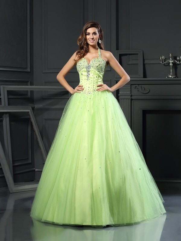 Awesome Ball Gown Halter Cut Satin Long Dresses With Beading