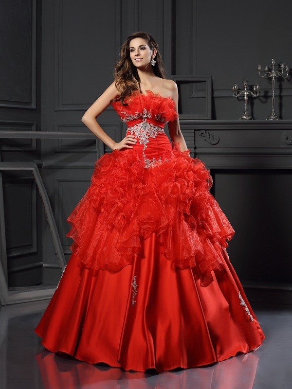 Stunning Ball Gown Strapless Cut Organza Long Dresses With Ruffles