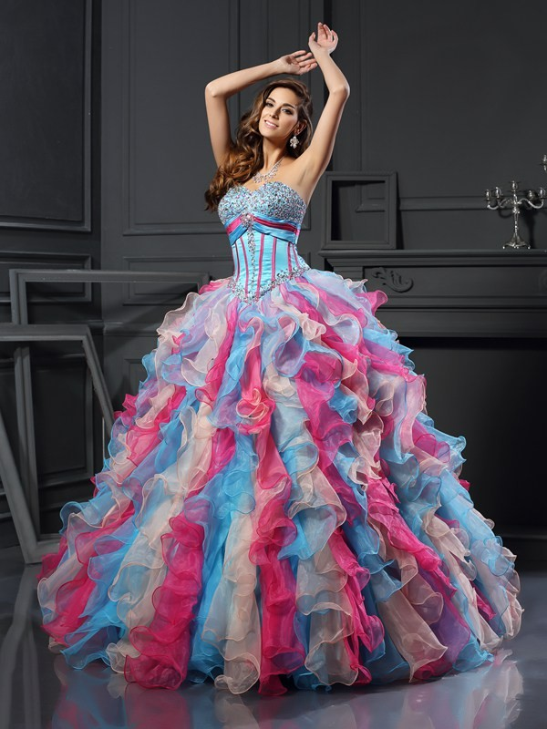Fashional Ball Gown Sweetheart Cut Organza Long Dresses With Beading