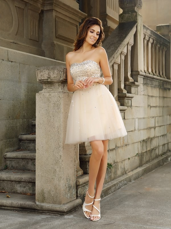 Delicate A-Line Strapless Cut Satin Short Dresses With Beading