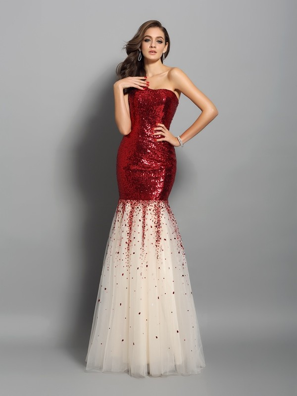 Radiant Mermaid One-Shoulder Cut Sequins Long Dresses With Ruffles