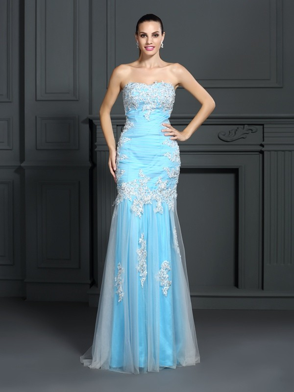 Smart Mermaid Strapless Cut Elastic Woven Satin Long Dresses With Applique