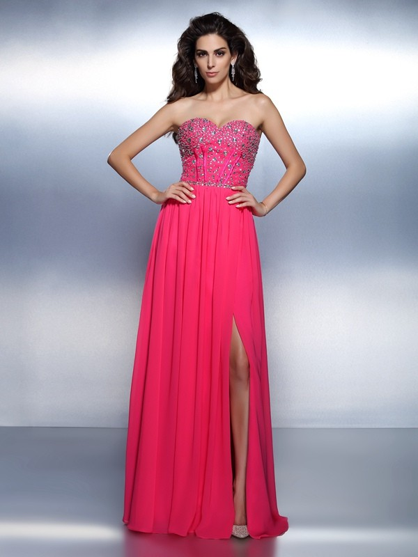Chic A-Line Sweetheart Cut Chiffon Long Dresses With Beading