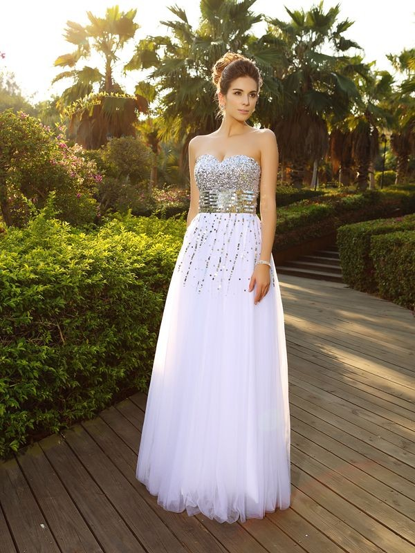 Popular A-Line Sweetheart Cut Organza Long Dresses With Beading