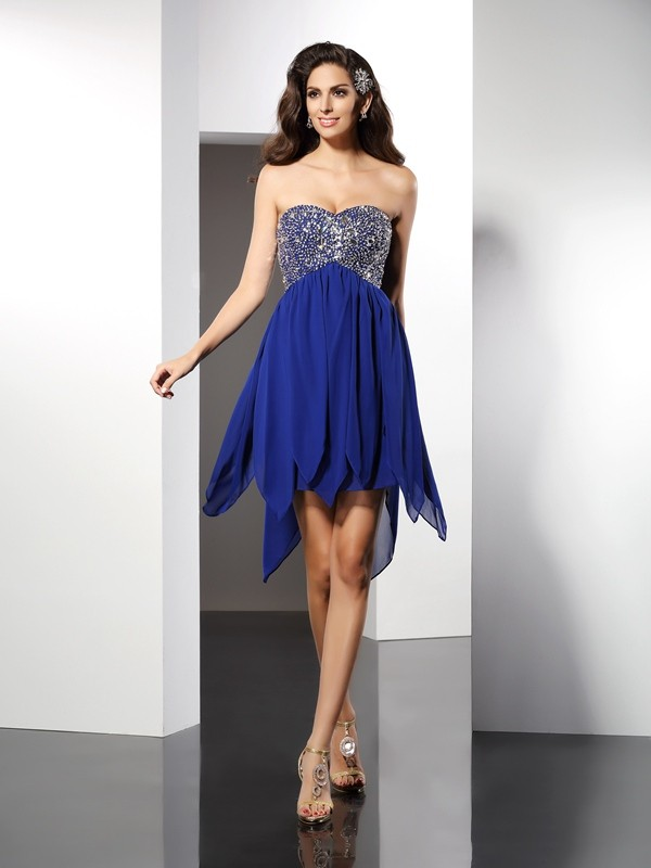 Gorgeous A-Line Sweetheart Cut Chiffon Short Dresses With Beading