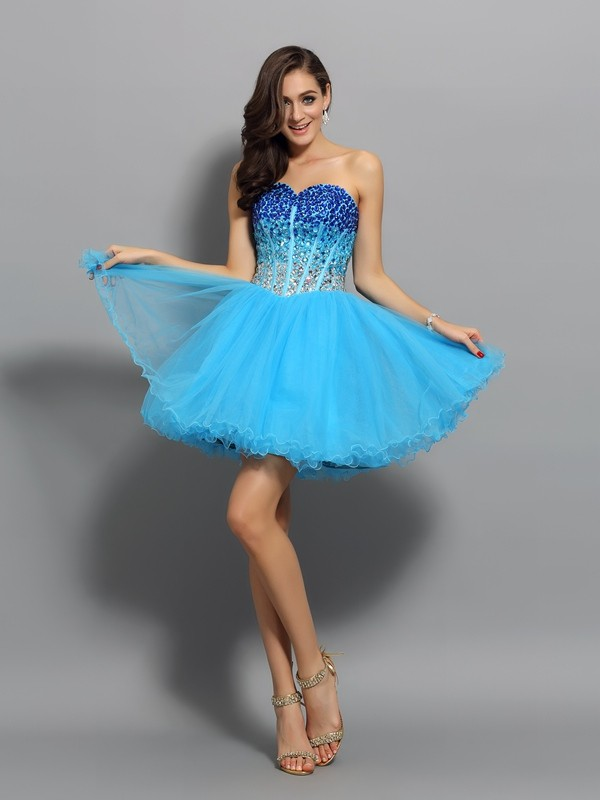 Charming A-Line Sweetheart Cut Satin Short Dresses With Ruffles