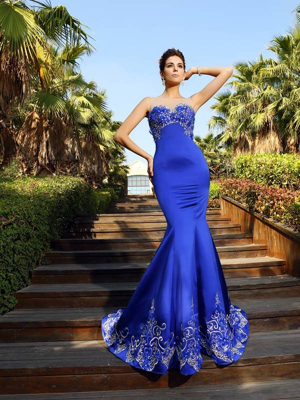 Amazing Mermaid Sweetheart Cut Satin Long Dresses With Beading