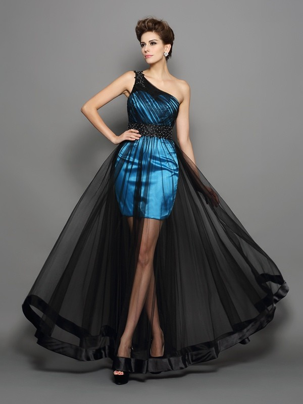 Graceful A-Line One-Shoulder Cut Elastic Woven Satin Long Dresses With Ruched