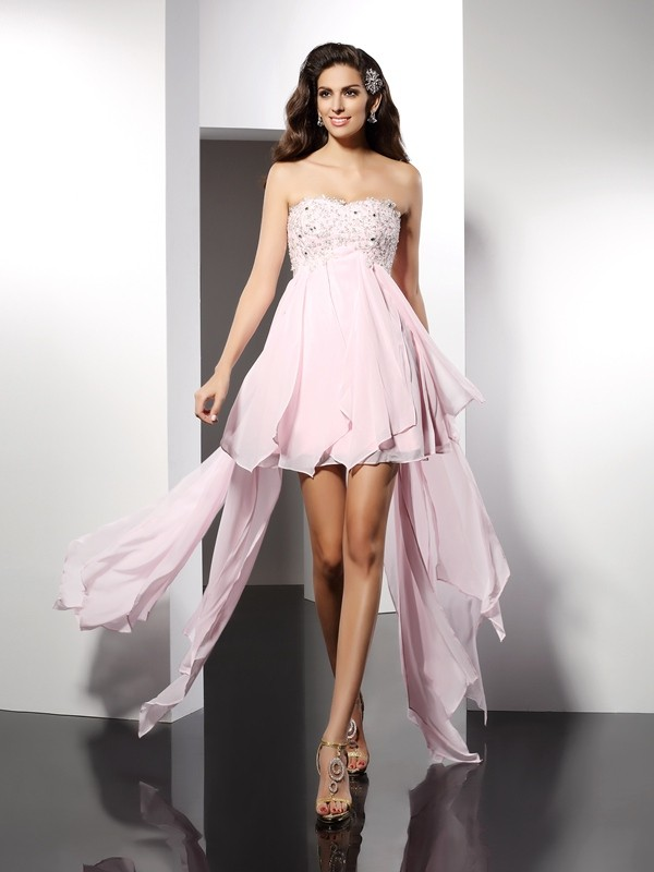 Stunning A-Line Sweetheart Cut Chiffon High Low Dresses With Applique