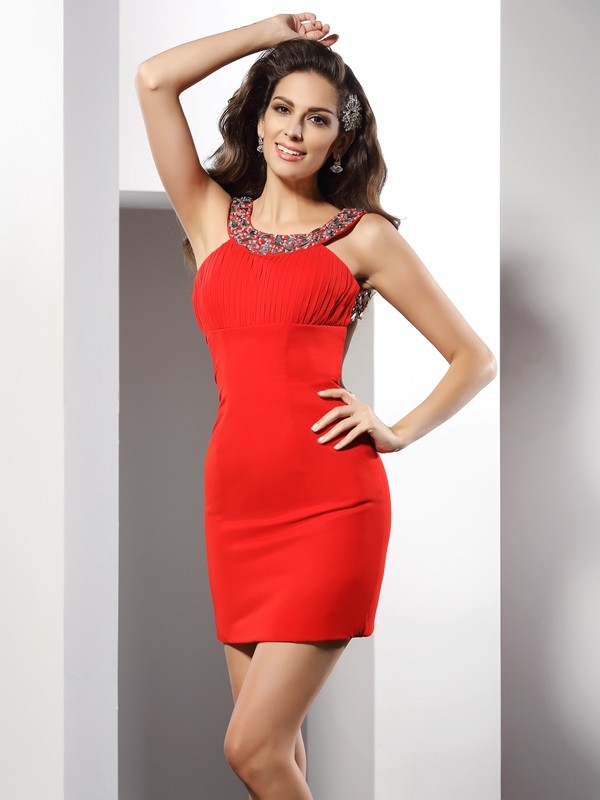 Romantic Sheath Scoop Cut Chiffon Short Dresses With Beading