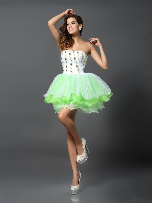 Special A-Line Strapless Cut Organza Short Dresses With Ruffles