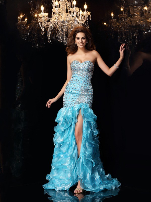 Bright Mermaid Sweetheart Cut Organza High Low Dresses With Beading