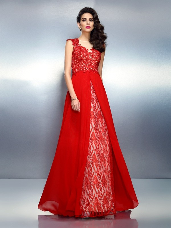 Modern A-Line Bateau Cut Net Long Dresses With Applique