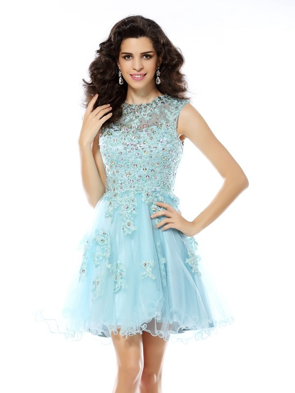 Radiant A-Line Scoop Cut Satin Short Dresses With Beading