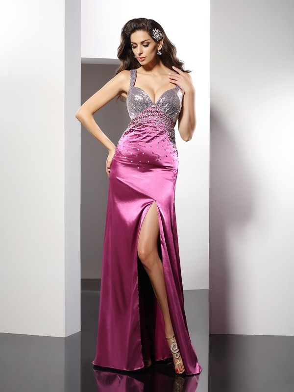 Smart A-Line Straps Cut Elastic Woven Satin Long Dresses With Beading