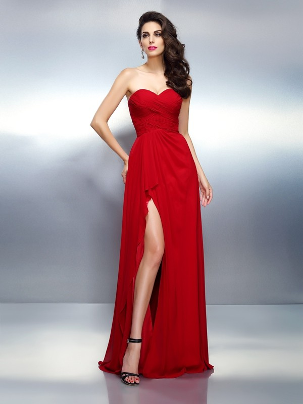 Hot A-Line Sweetheart Cut Chiffon Long Dresses With Pleats