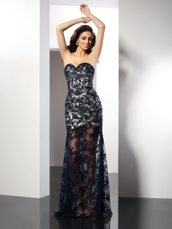 Glamorous Sheath Sweetheart Cut Satin Long Dresses With Lace