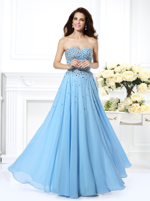 Trendy A-Line Sweetheart Cut Chiffon Long Dresses With Beading