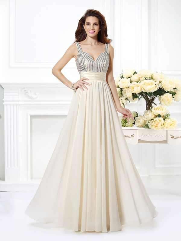 Pretty A-Line Straps Cut Chiffon Long Dresses With Beading
