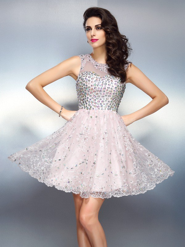 Gorgeous A-Line Bateau Cut Satin Short Dresses With Beading