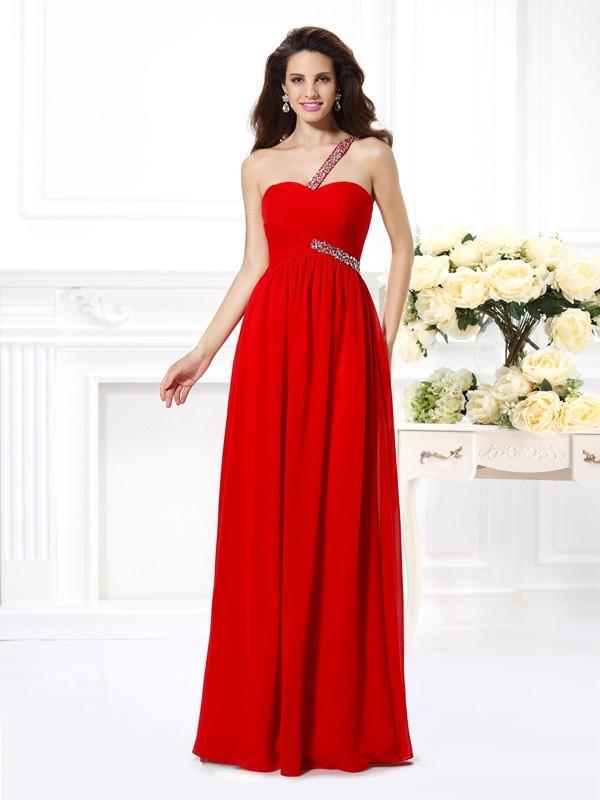 Stunning A-Line One-Shoulder Cut Chiffon Long Dresses With Beading