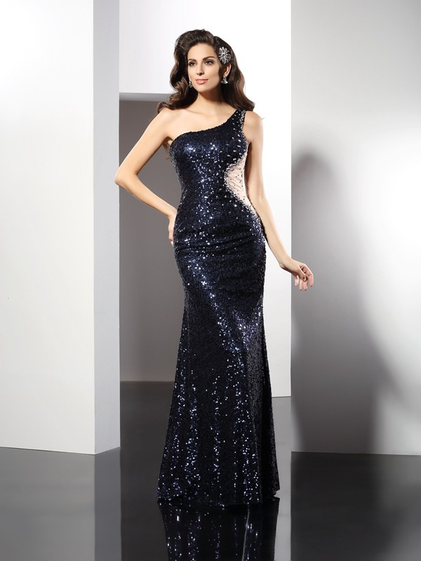 Fashional Sheath One-Shoulder Cut Sequins Long Dresses With Sequin
