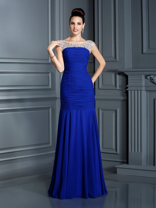 Special Mermaid Scoop Cut Chiffon Long Dresses With Beading