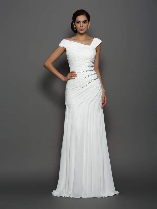 Delicate Mermaid One-Shoulder Cut Chiffon Long Dresses With Beading