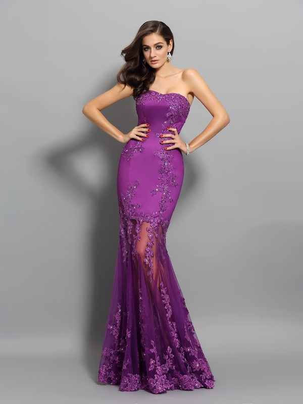 Brilliant Mermaid Sweetheart Cut Chiffon Long Dresses With Beading