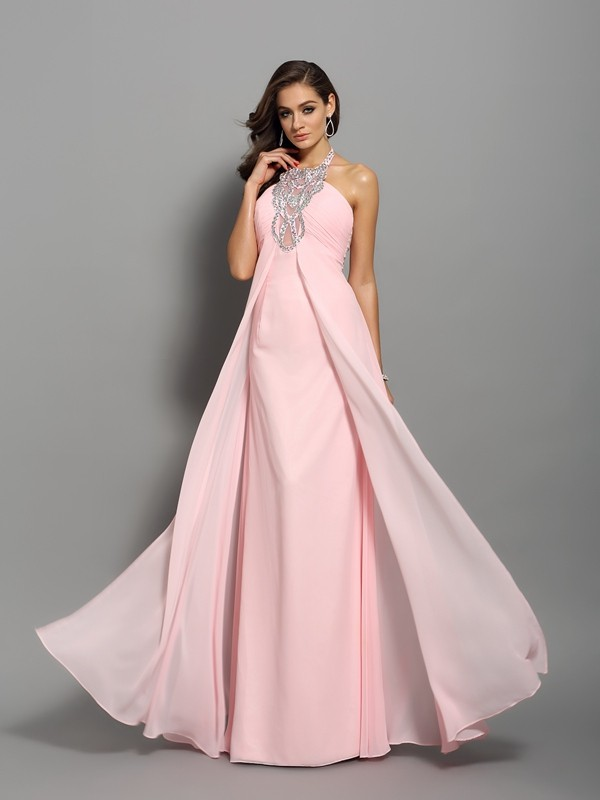 Modern Sheath High Neck Cut Chiffon Long Dresses With Beading