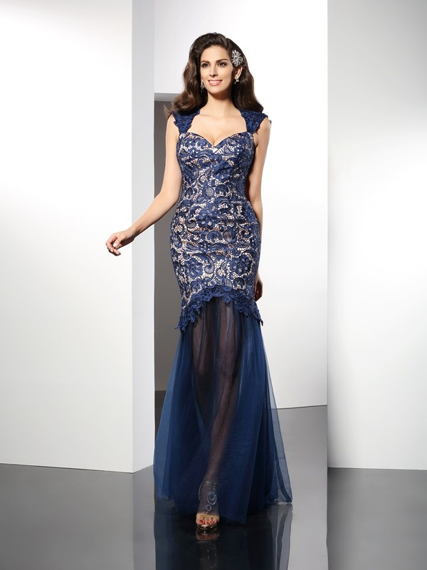 Radiant Mermaid Sweetheart Cut Net Long Dresses With Lace