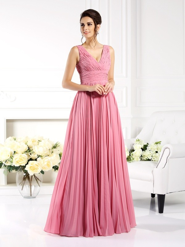 Stylish A-Line Sweetheart Cut Chiffon Long Dresses With Pleats