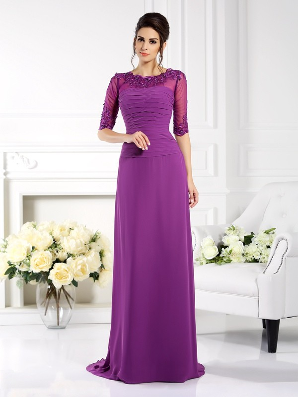 Charming Sheath Scoop Cut Chiffon Long Dresses With Applique