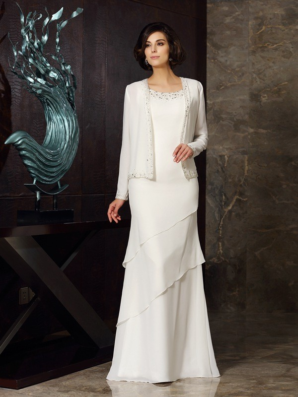 Stunning Sheath Scoop Cut Chiffon Long Mother of the Bride Dresses With Beading