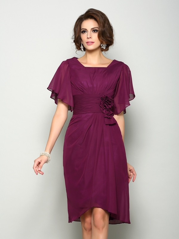 Lovely A-Line Square Cut Chiffon Short Mother of the Bride Dresses With Hand-Made Flower