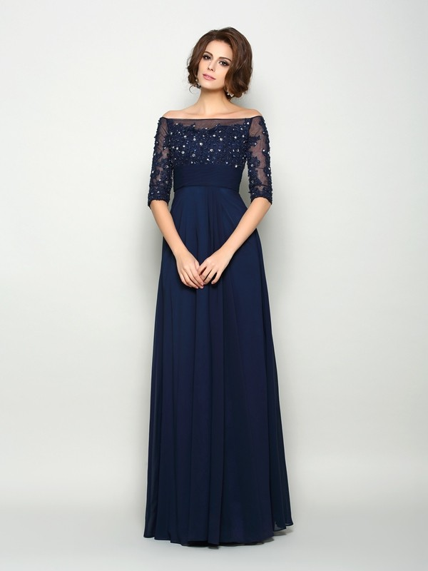 Shining A-Line Off-the-Shoulder Cut Chiffon Long Mother of the Bride Dresses With Beading