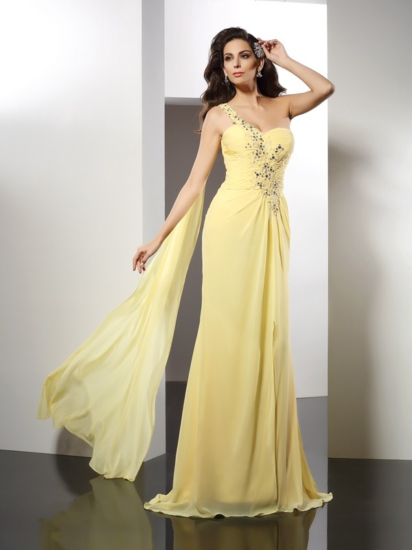 Special A-Line One-Shoulder Cut Chiffon Long Dresses With Beading