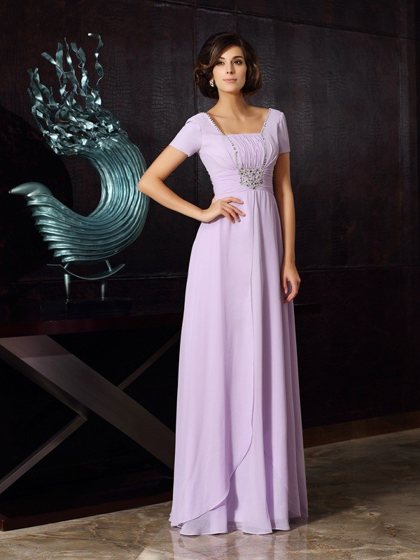 Bright A-Line Square Cut Chiffon Long Mother of the Bride Dresses With Beading