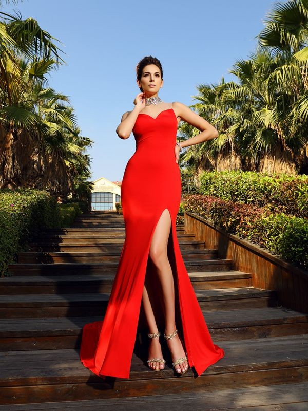Soft Sheath High Neck Cut Spandex Long Dresses With Beading