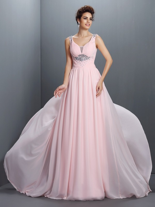 Chic A-Line Straps Cut Chiffon Long Dresses With Beading