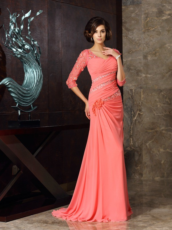 Sweet Mermaid Sweetheart Cut Chiffon Long Mother of the Bride Dresses With Ruffles