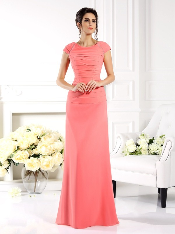 Nice A-Line Bateau Cut Chiffon Long Mother of the Bride Dresses With Ruffles