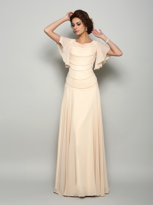 Shining A-Line Square Cut Chiffon Long Mother of the Bride Dresses With Beading