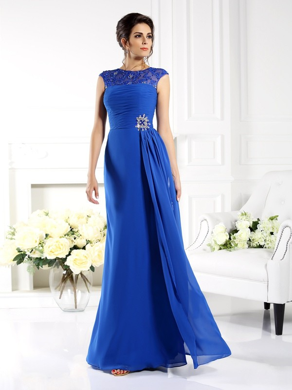 Bright A-Line Bateau Cut Chiffon Long Dresses With Applique