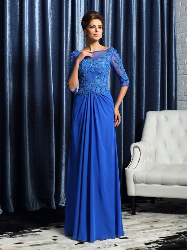 Radiant A-Line Bateau Cut Chiffon Long Mother of the Bride Dresses With Beading