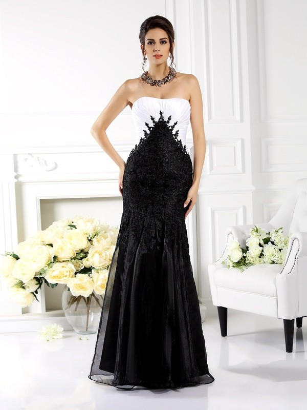 Nice Mermaid Strapless Cut Tulle Long Dresses With Applique