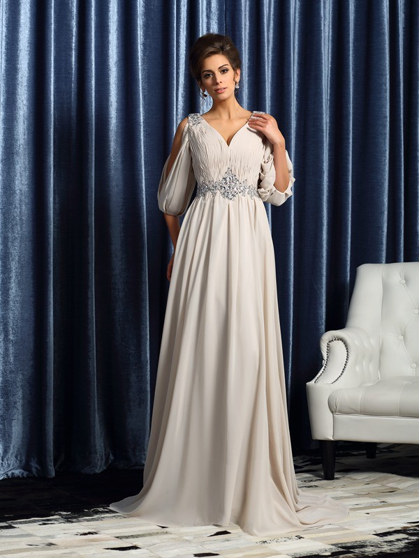 Shining A-Line V-neck Cut Chiffon Long Mother of the Bride Dresses With Beading
