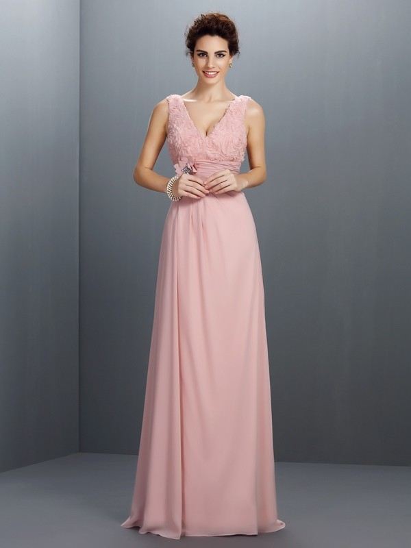Attractive A-Line V-neck Cut Chiffon Long Dresses With Beading