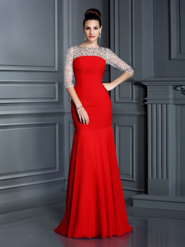 Delicate Mermaid Scoop Cut Chiffon Long Dresses With Beading