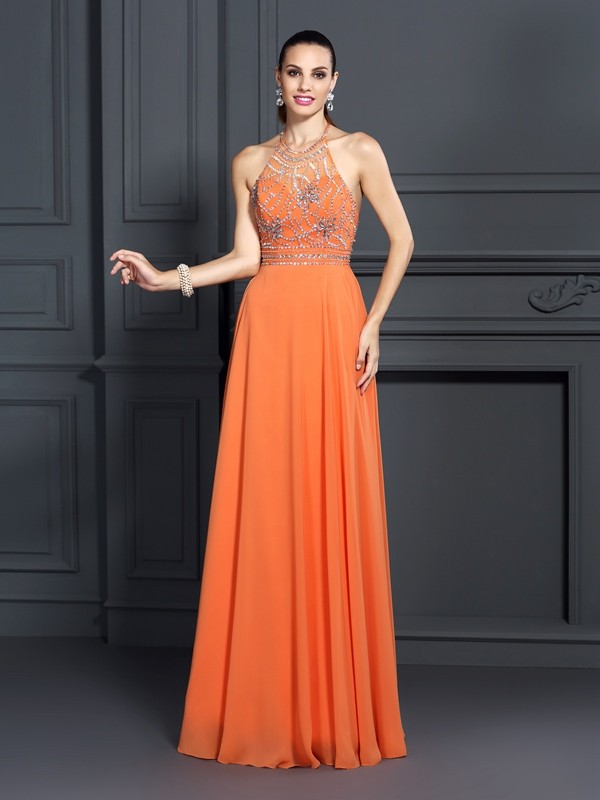 Modern A-Line Scoop Cut Chiffon Long Dresses With Beading